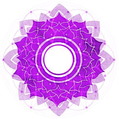 Crown Chakra Symbol overexposed over Symbol of Flower of Life.