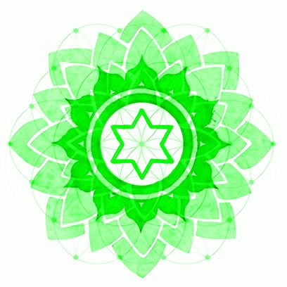 Heart Chakra Symbol overexposed over Symbol of Flower of Life.