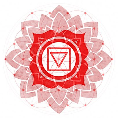 Red Root Chakra Symbol overexposed over Symbol of Flower of Life.