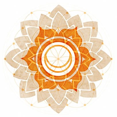 Sacral Chakra Symbol overexposed over Symbol of Flower of Life.
