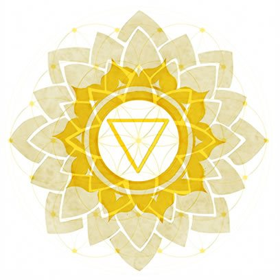 Solar Plexus Chakra Symbol overexposed over Symbol of Flower of Life.