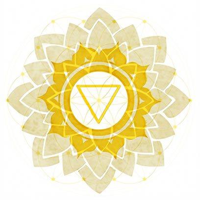 Solar Plexus Chakra Symbol overexposed over Symbol of Flower of Life.