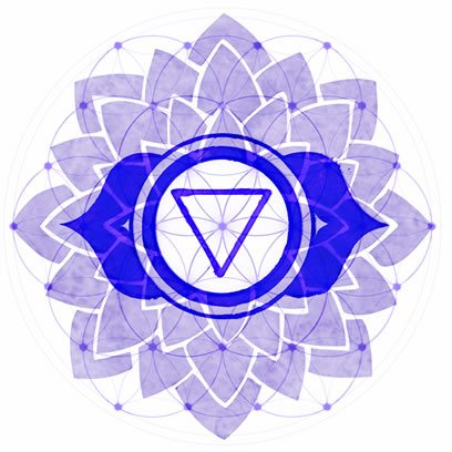 Third Eye Chakra Symbol overexposed over Symbol of Flower of Life.