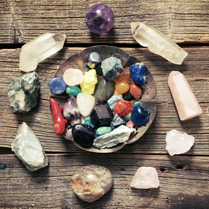 Cleansing Crystals in Bowl - Crystal Grid
