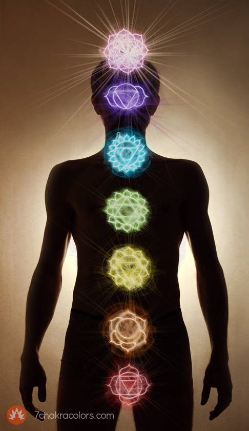 Chakras over Man Body Silhouette